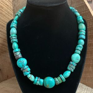 Jewelry - Turquoise Nugget and Disc Necklace with 925 Toggle